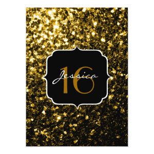 Beautiful Yellow Gold sparkles 5.5x7.5 Paper Invitation Card