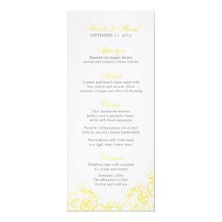 Beautiful Yellow & Gray Floral Custom Wedding Menu Card