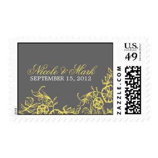 Beautiful Yellow & Gray Floral Wedding Postage Stamp