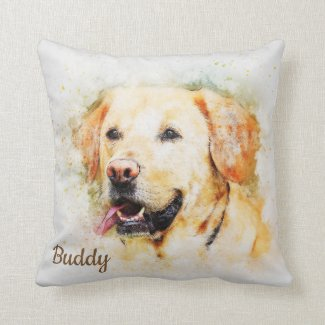 Beautiful Yellow Labrador Custom Personalized Throw Pillow