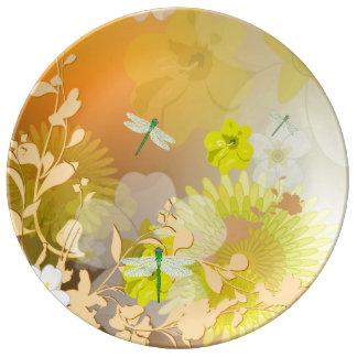 Beautiful yellow porcelain plates