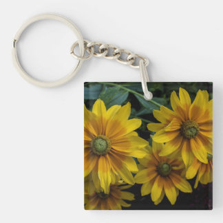 Beautiful Yellow Orange Flowers Square Acrylic Keychains