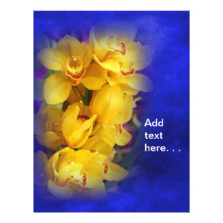 """Beautiful Yellow Orchids on Deep Blue Background 8.5"""" X 11"""" Flyer"""