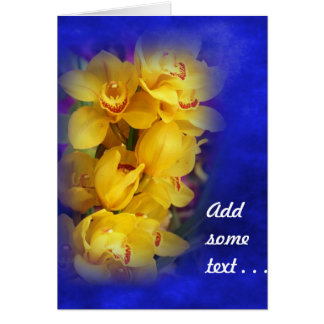 Beautiful Yellow Orchids on Deep Blue Background Greeting Card