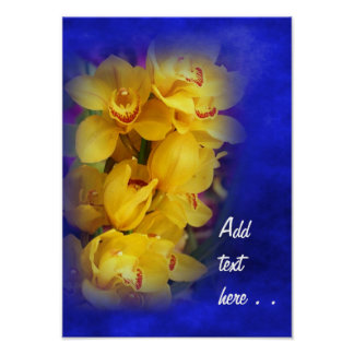 Beautiful Yellow Orchids on Deep Blue Background Poster