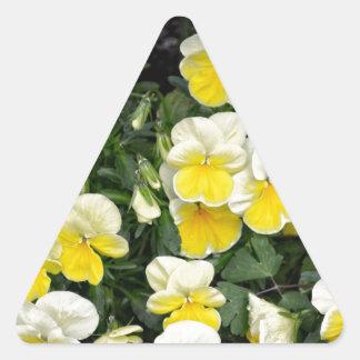 Beautiful Yellow Pansies Triangle Sticker