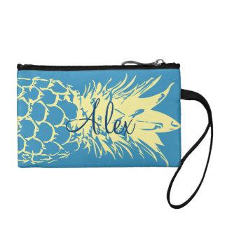 Beautiful Yellow Pineapple blue Customized clutch