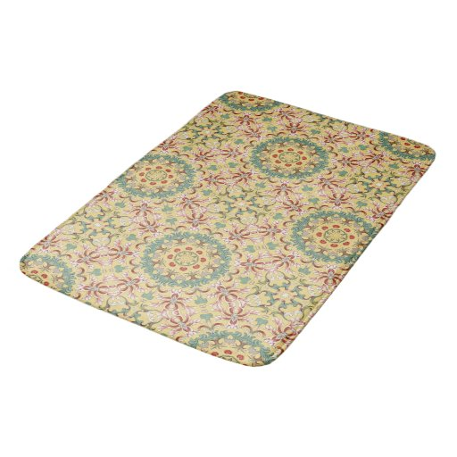 Beautiful Yellow Pink Green And Blue Floral Bathroom Mat