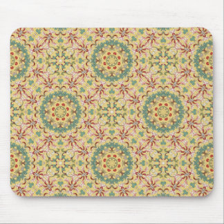 Beautiful yellow, pink, green, blue and red floral mouse pad