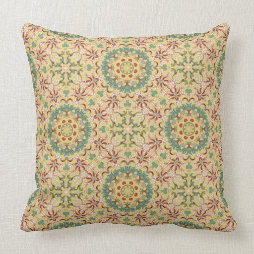 Red Green And Blue Throw Pillows : Beautiful Yellow, Pink, Green, Red and Blue Floral Throw Pillow Zazzle