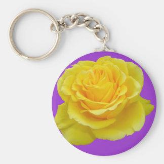 Beautiful Yellow Rose Closeup Isolated Keychain