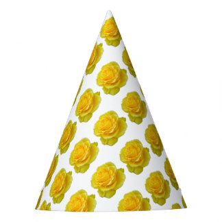 Beautiful Yellow Rose Closeup Isolated Party Hat