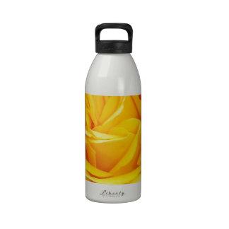 Beautiful Yellow Rose Closeup Water Bottles