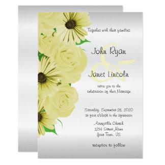 Beautiful Yellow Rose & Daisy Wedding Invitations