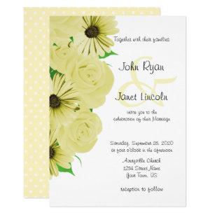 Beautiful Yellow Rose Daisy Wedding Invitations