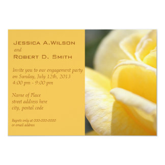 Beautiful yellow rose flower engagement party card