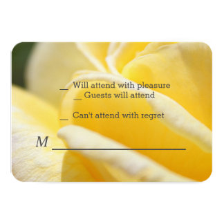 beautiful yellow rose flower RSVP cards. Card