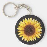 Beautiful yellow sunflower drawing keychain