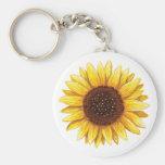 Beautiful yellow sunflower drawing on keychain