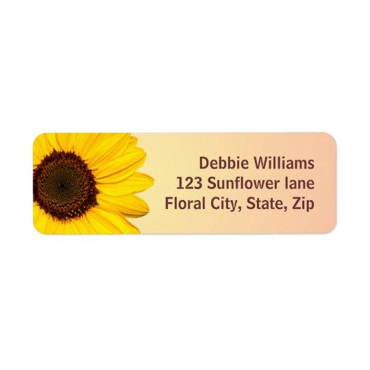 Beautiful yellow sunflower return address labels