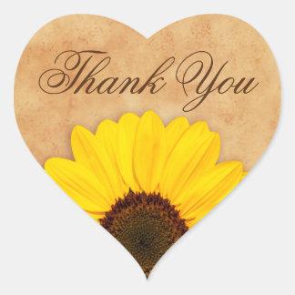 Beautiful yellow sunflower thank you stickers