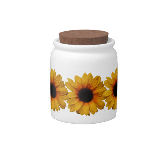 Beautiful Yellow Sunflowers Candy Jar