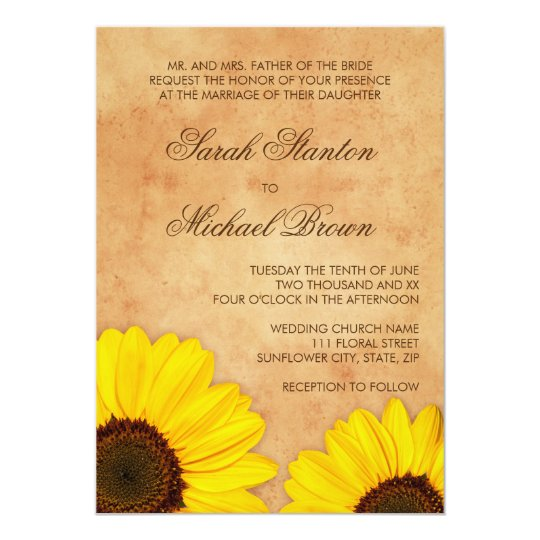 Beautiful yellow sunflowers wedding invitation