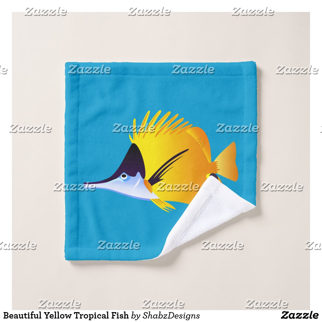 Beautiful Yellow Tropical Fish Wash Cloth
