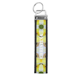 Beautiful Yellow White Abstract Wrist Keychain