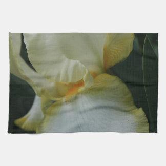 Beautiful Yellow White Iris Flower Kitchen Towel