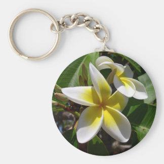 Beautiful yellow-white Plumeria flower Key Chains