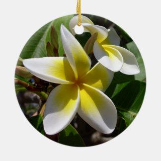 Beautiful yellow-white Plumeria flower Christmas Ornament