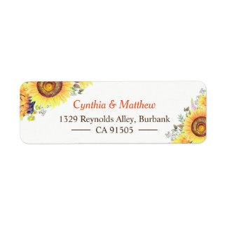 Beautiful Yellow White Sunflowers Elegant Chic Label
