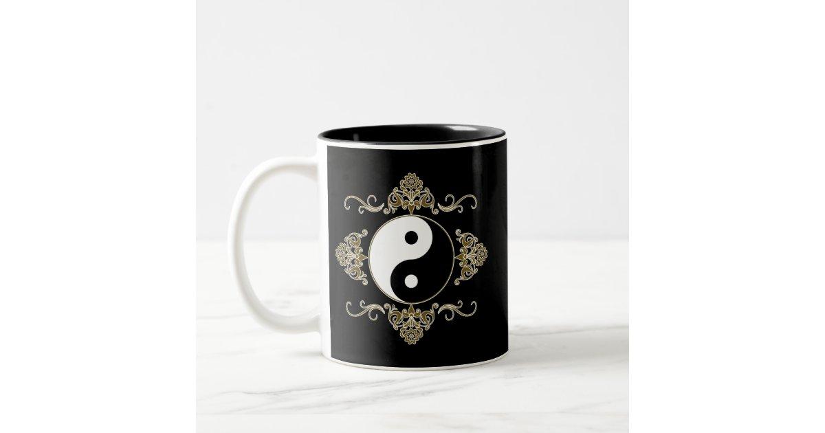 Beautiful Yin Yang Design in Black and Gold Two-Tone Coffee Mug Zazzle