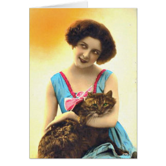 Beautiful Young Girl and Her Cat Card