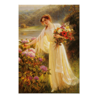Beautiful,young lady,flowers,by Albert Lynch,Belle Poster