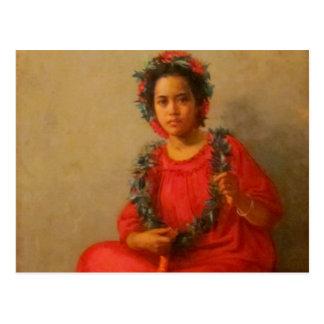 Beautiful Young Lei Seller  In Old Hawaii Postcard