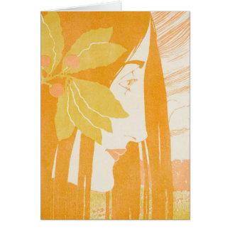 Beautiful  young women, art noveau print card
