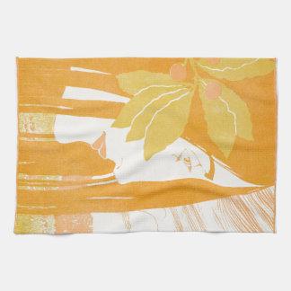 Beautiful  young women, art noveau print towels