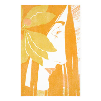 Beautiful  young women, art noveau print stationery