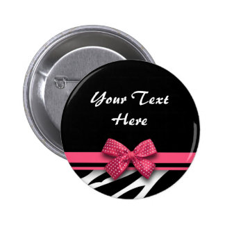 beautiful zebra pink bow button
