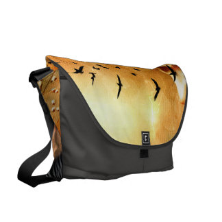 Beautiful zebra with birds courier bag