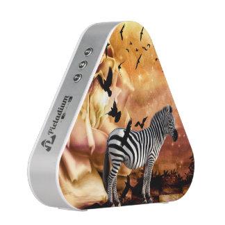 Beautiful zebra with birds speaker