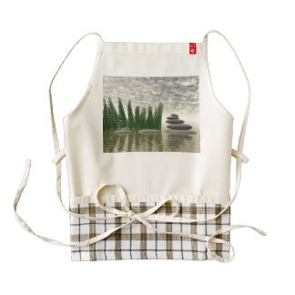 Beautiful zen landscape in the middle of aquatic zazzle HEART apron