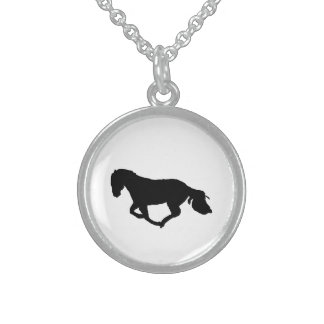 Beautifull Black Horse Silhouette Necklace