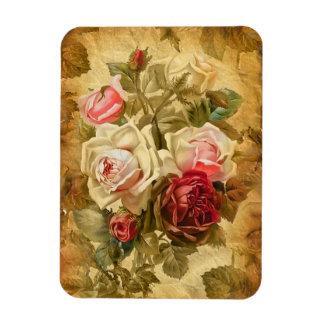 Beautifull bunch of roses on vintage background rectangular photo magnet