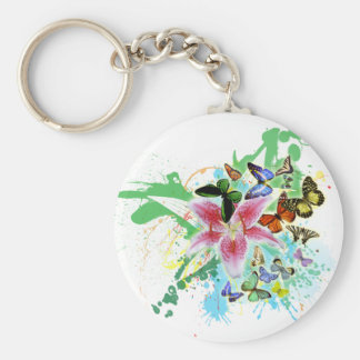 beautifull color spalsh lilly and butterflies basic round button keychain