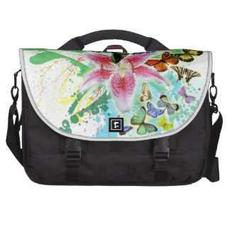 beautifull color spalsh lilly and butterflies commuter bags