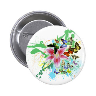 beautifull color spalsh lilly and butterflies pinback button
