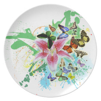 beautifull color spalsh lilly and butterflies party plate